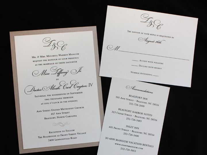 Tmx 1419809721257 Champagne Black  Cream Mongram And Scroll Formal W Cary wedding invitation
