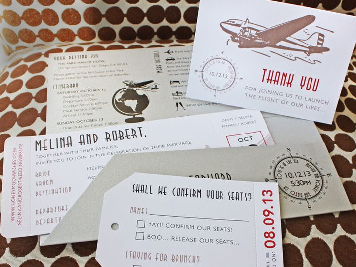 Tmx 1419809737863 Silver Red  Beige Vintage 1930s Airplane Globe  Co Cary wedding invitation