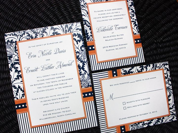 Tmx 1419809755473 Orange  Navy Blue Damask Stripes  Dots Wedding Inv Cary wedding invitation