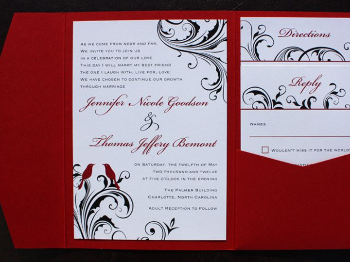 Tmx 1419809765573 Red Black  White Love Birds And Swirl Vine Pocketf Cary wedding invitation