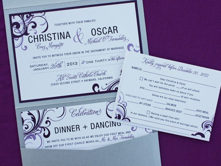 Tmx 1419809816140 Eggplant  Lapis Purple Swirls Modern Vertical Pock Cary wedding invitation
