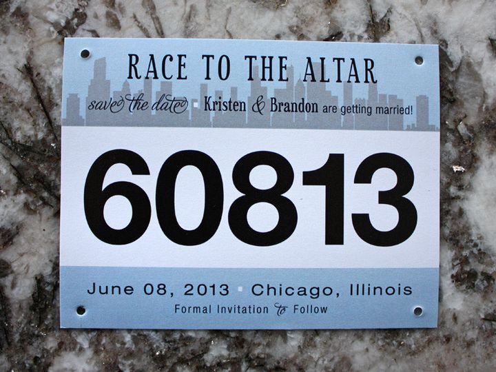 Tmx 1419809820280 Light Blue  Gray Chicago Skyline Marathon Race Bib Cary wedding invitation