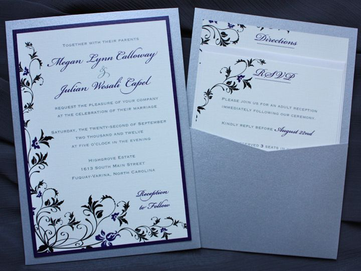 Tmx 1419809839221 Purple Black  Silver Floral Vine Clutch Pocket Wed Cary wedding invitation