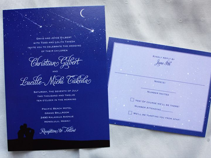 Tmx 1419809851423 Royal Blue Star Gazing Couple Astrology Wedding In Cary wedding invitation