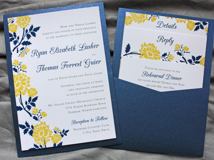 Tmx 1419809866594 Golden Yellow  Navy Blue Spring Flower Clutch Pock Cary wedding invitation