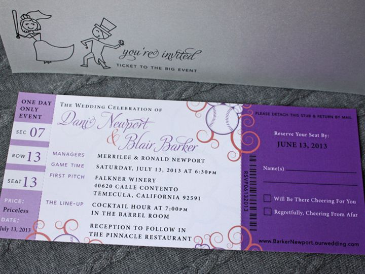 Tmx 1419809906174 Purple Coral  Silver Swirl Baseball Ticket Wedding Cary wedding invitation