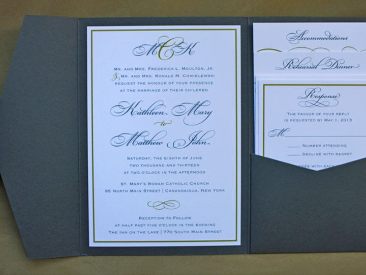 Tmx 1419809958263 Dark Gray  Gold Formal Monogram  Scroll Pocketfold Cary wedding invitation