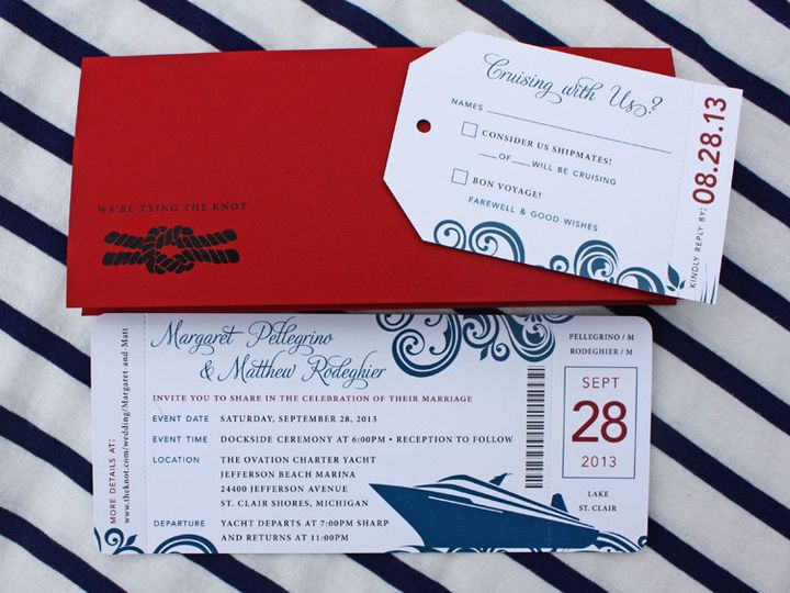 Tmx 1419809974706 Red  Blue Swirls  Yacht Cruise Ticket Wedding Invi Cary wedding invitation