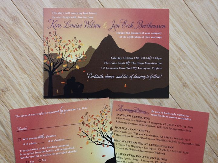 Tmx 1419810003249 Fall Leaves  Mountain Theme With Couple Sitting Un Cary wedding invitation