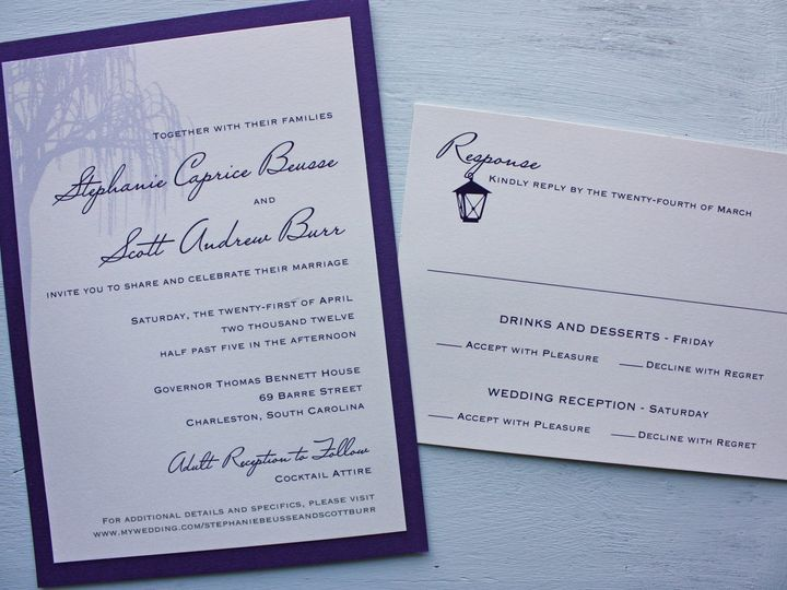 Tmx 1419810235587 Purple Willow Tree And Lantern Southern Wedding In Cary wedding invitation