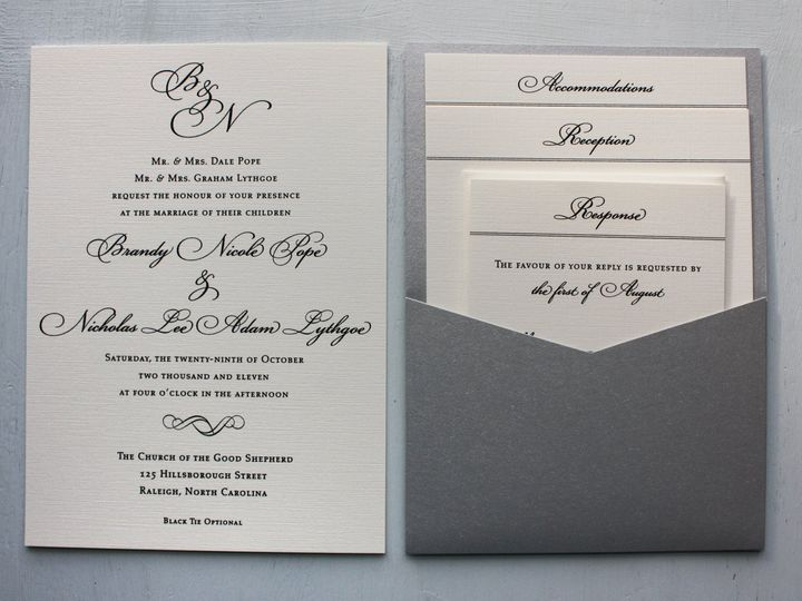 Tmx 1419810309008 Formal Black  Cream Monogram And Scroll Metallic S Cary wedding invitation