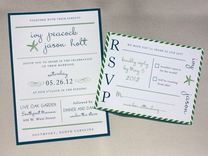 Tmx 1419810334479 Navy Blue  Green Beach Inspired Poster Style Weddi Cary wedding invitation