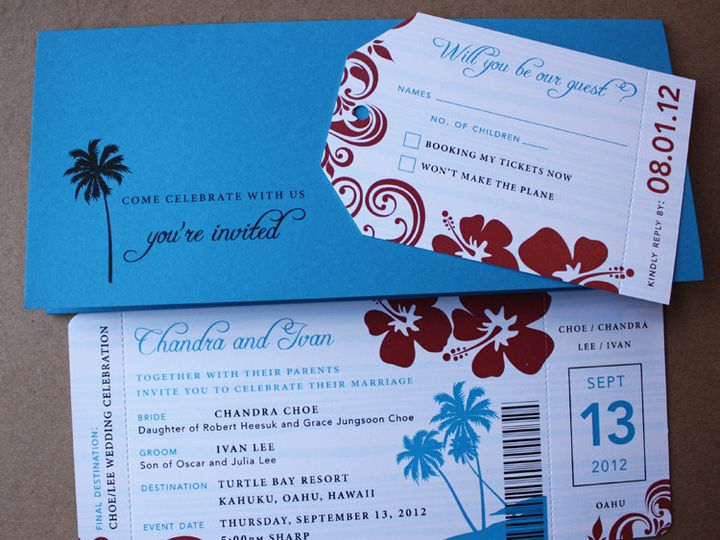 Tmx 1419810376383 Dark Turquoise  Red Swirl Palm Tree  Hibiscus Flow Cary wedding invitation