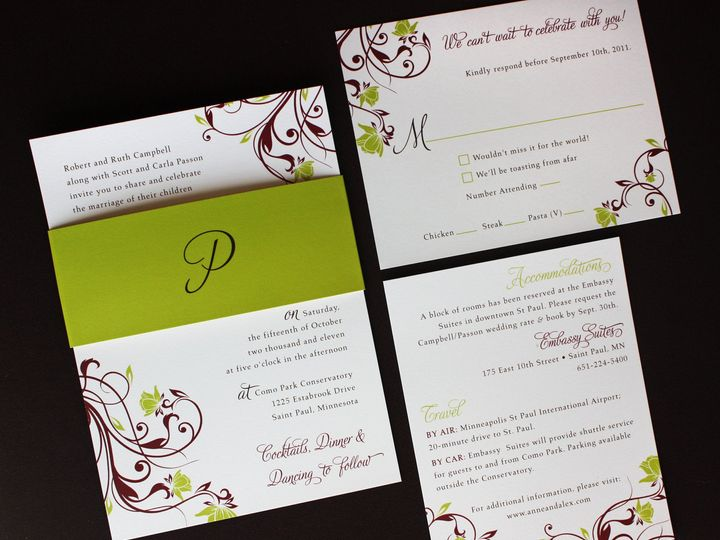 Tmx 1419810415998 Chartreuse And Burgundy Floral Swirl Monogram Bell Cary wedding invitation