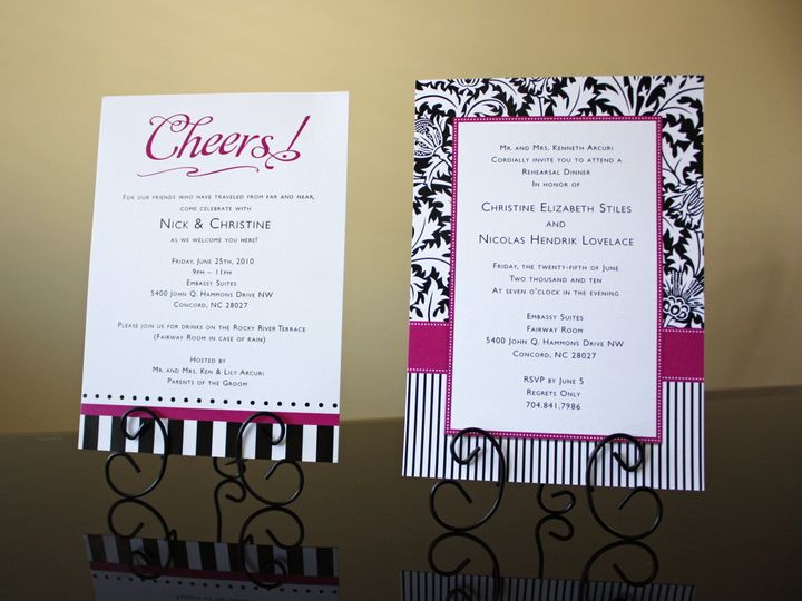 Tmx 1419810522000 Pink And Black Damask Stripes And Dots Wedding Reh Cary wedding invitation