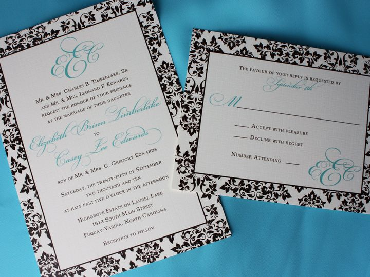 Tmx 1419810630843 Chocolate Brown And Tiffany Blue Damask Border And Cary wedding invitation