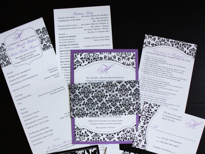 Tmx 1419810657538 Purple  Black Damask Dots  Monogram Belly Band Wed Cary wedding invitation