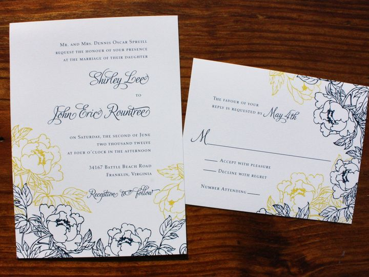 Tmx 1419810681470 Navy Blue Yellow  White Peony Wedding Invitations Cary wedding invitation