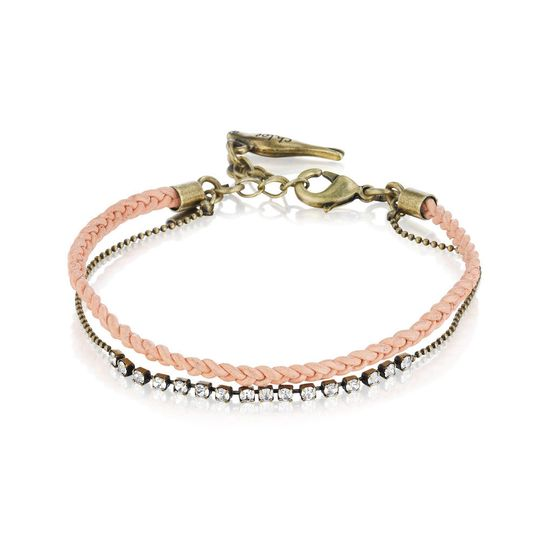 dainty leather rhinestone bracele