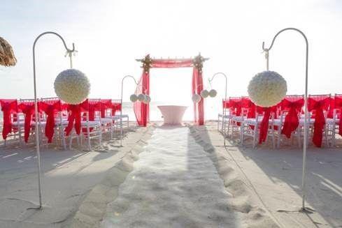 beach ceremony fushia