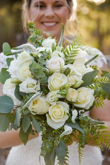 White roses, eucalpytus