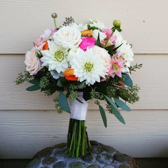 White dahlia spring bouquet