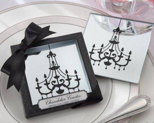 Black Chandelier Glass coaster s/2