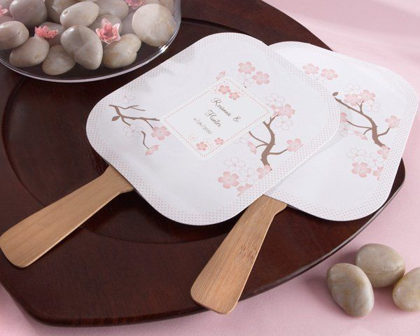 Cherry Blossoms Hand Fan (min order 24) - this can be personalized (names & date)  Great for...