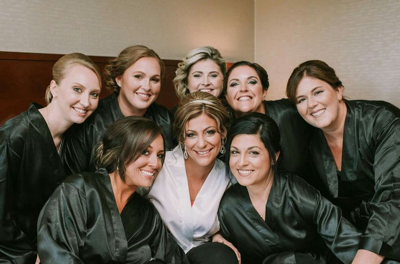 Bride and bridesmaids in the dressing room