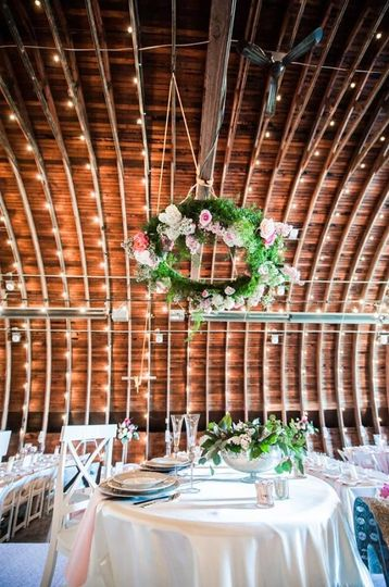 Sample hanging wreath and string lights