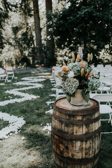 Rustic wedding setup