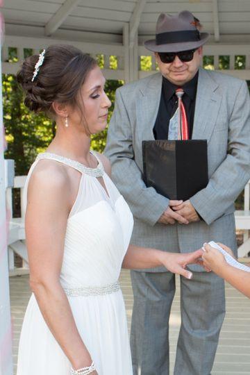 Bride receiving her ring