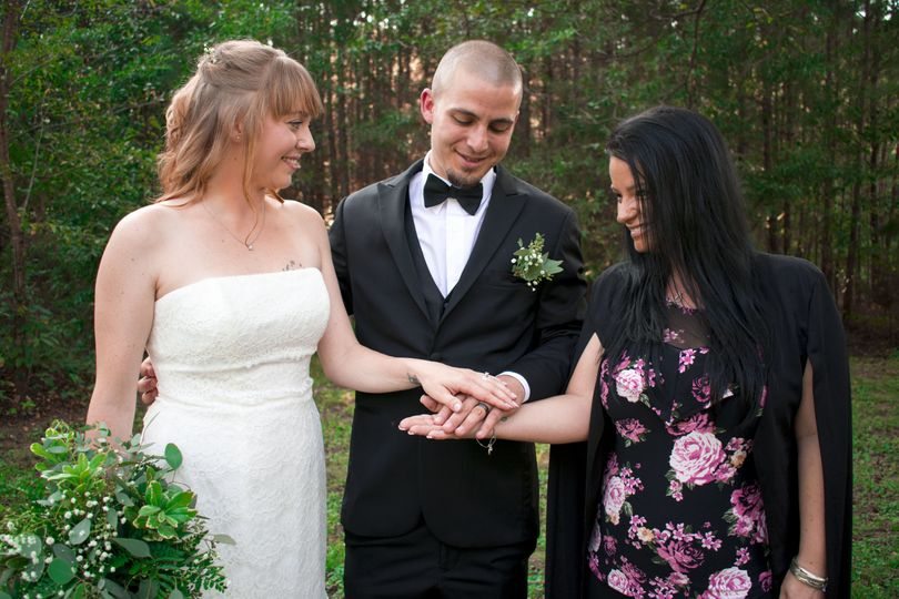 Bride, groom, and officiant