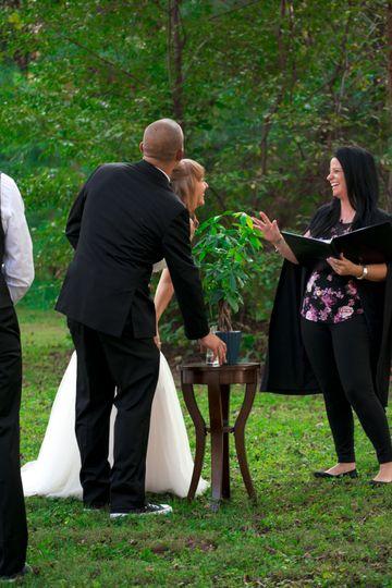 Sharing laughs at the wedding