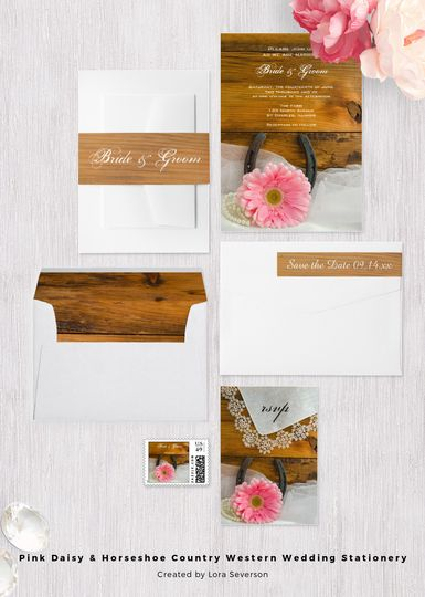The informal yet elegant Pink Daisy and Horseshoe Country Western Wedding Collection is perfect to...