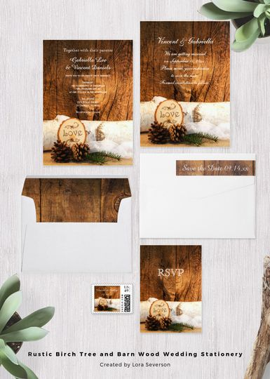 The Rustic Birch Tree and Barn Wood Wedding Collection is perfect to complement your casual yet...