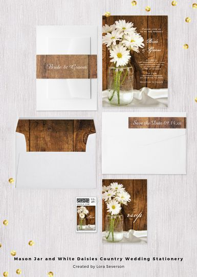 The Mason Jar and White Daisies Country Wedding Collection of invitations, save the dates, rsvp...