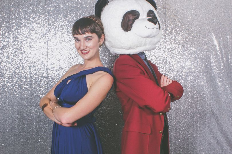 A lady and a panda