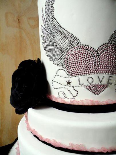 Detail of Winged Heart (fake) Wedding Cake