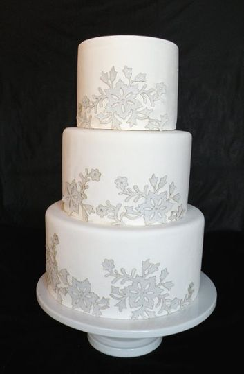 Frosted Winter Flowers (fake) Wedding Cake