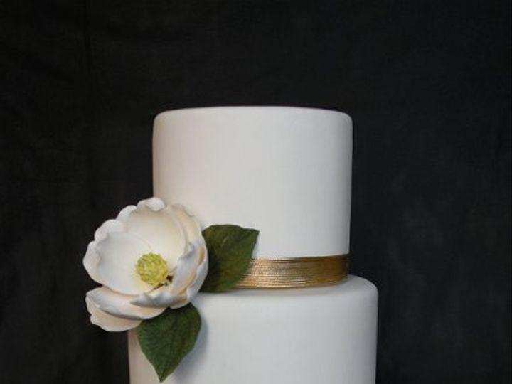 Tmx 1297974472765 GoldenBandswMagnoliaFakeWeddingCake New York wedding cake