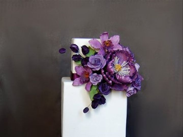 Tmx 1297974746156 PurpleBouquetWeddingCakeRental New York wedding cake