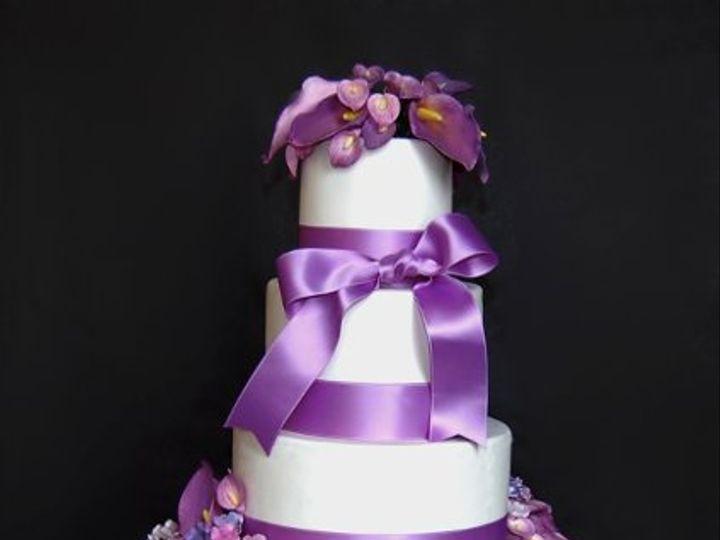 Tmx 1297974768109 PurpleCallaLilyHydrageaWeddingCakeRental New York wedding cake