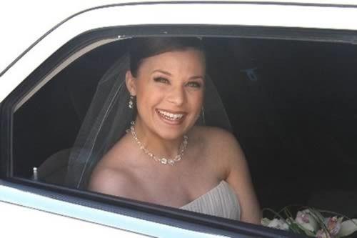 Bride inside the car