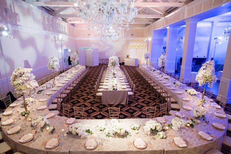 Grand cru ballroom wedding set-up