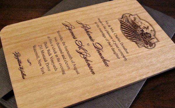 Engraved Wood Wedding Invitation - Vineyard