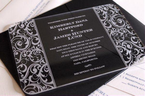 Engraved Acrylic Invitation - Scroll