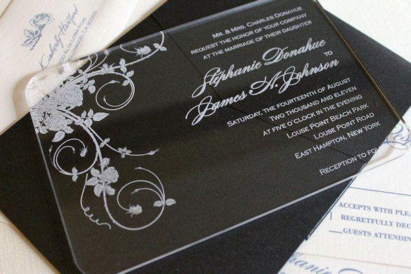 Engraved acrylic wedding Invitation - Jardin