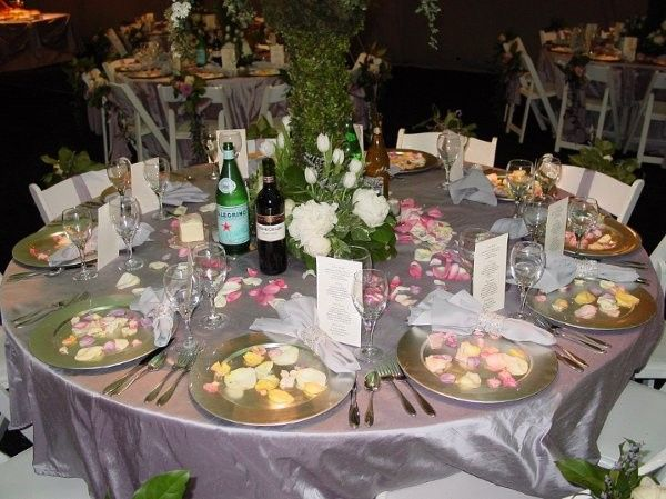 Tmx 1425481440344 Dining Table Close Up Rose Petals On Chargers Naperville, IL wedding catering