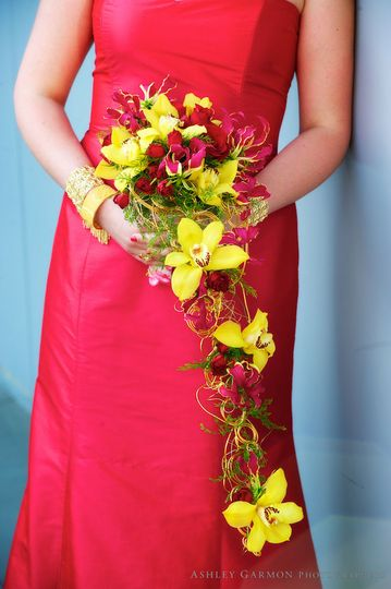 Yellow cymbidium orchids fashioned into a contemporary bridal bouquet